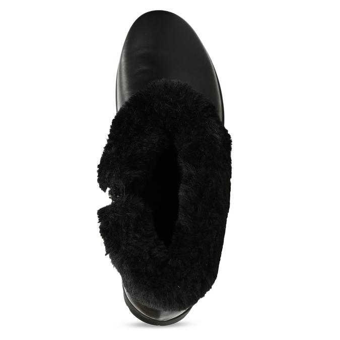 Černá dámská kožená kotníková obuv s kožíškem comfit, černá, 594-6725 - 17