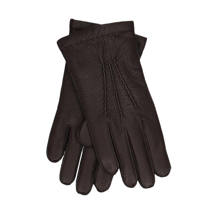 Tmavě hnědé pánské kožené rukavice s řasením junek, hnědá, 944-4140 - 13