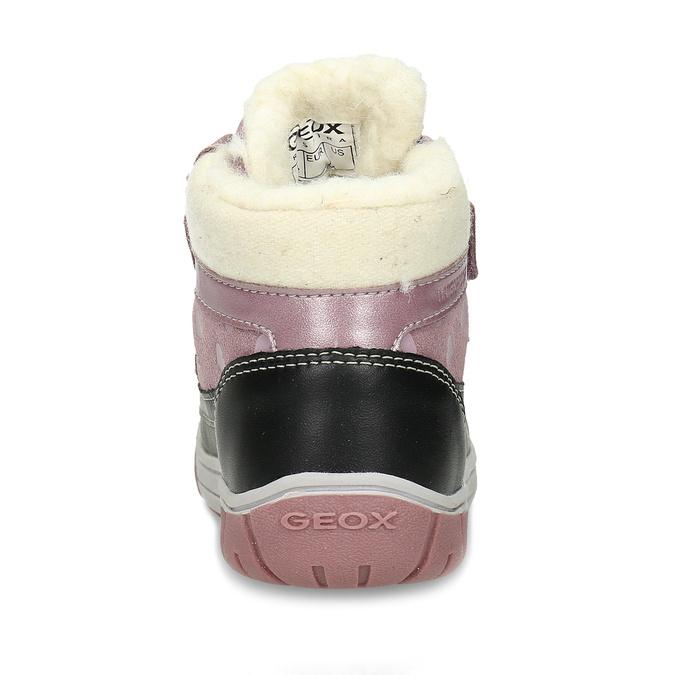 Růžové dívčí kožené zimní kotníkové tenisky geox, fialová, 196-5149 - 15