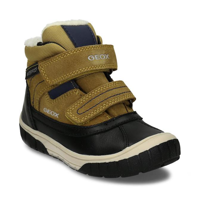 Žluto-černá kožená chlapecká zimní obuv s kožíškem geox, žlutá, 196-8148 - 13