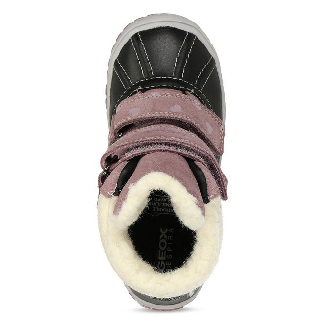 Růžové dívčí kožené zimní kotníkové tenisky geox, fialová, 196-5149 - 17