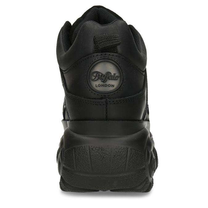 Černé dámské kožené tenisky na vysoké podešvi buffalo, černá, 544-6608 - 15