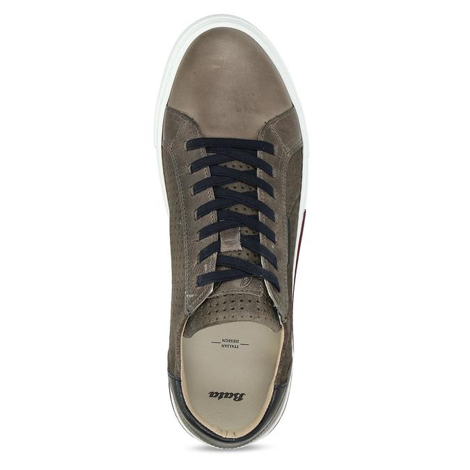 Pánské kožené ležérní tenisky bata, šedá, 846-2616 - 17