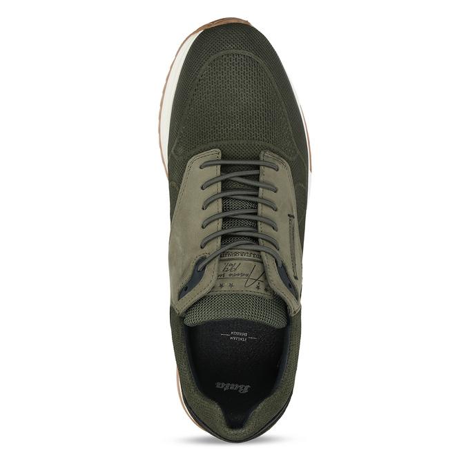 Khaki kožené pánské tenisky v městském stylu bata, zelená, 846-7615 - 17