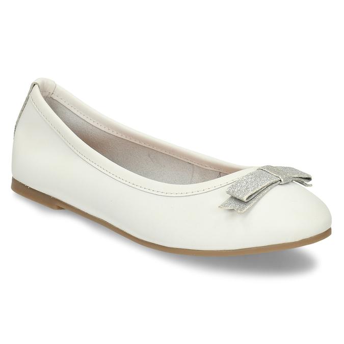 Bílé dívčí kožené baleríny mini-b, bílá, 324-1601 - 13