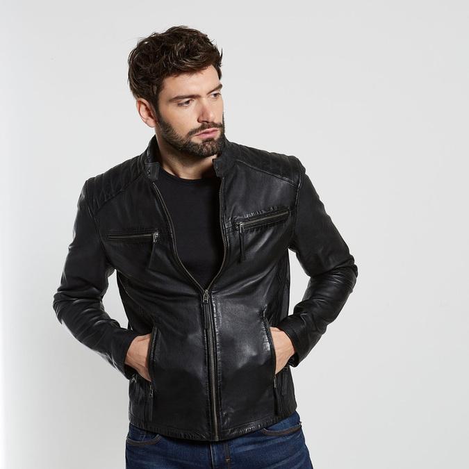 Černá kožená pánská bunda bata, černá, 974-6205 - 13