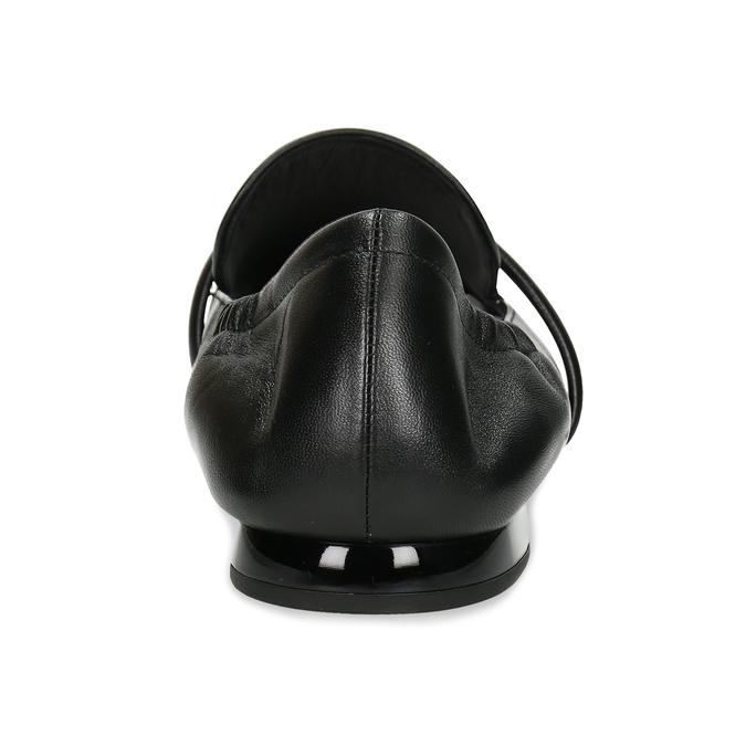 Černé kožené dámské mokasíny hogl, černá, 514-6606 - 15