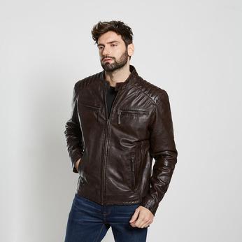 Hnědá kožená pánská bunda bata, hnědá, 974-4205 - 13