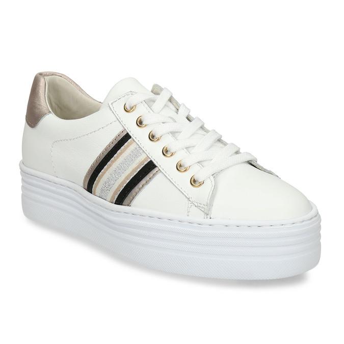 Bílé kožené dámské tenisky na vyšší podešvi bata, bílá, 544-1623 - 13