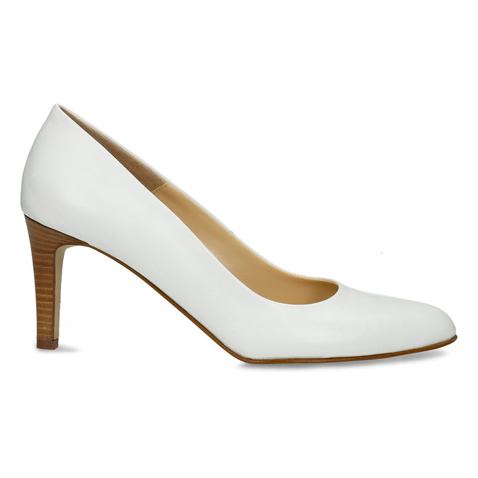 Bílé kožené lodičky na vysokém podpatku bata, bílá, 724-1601 - 19
