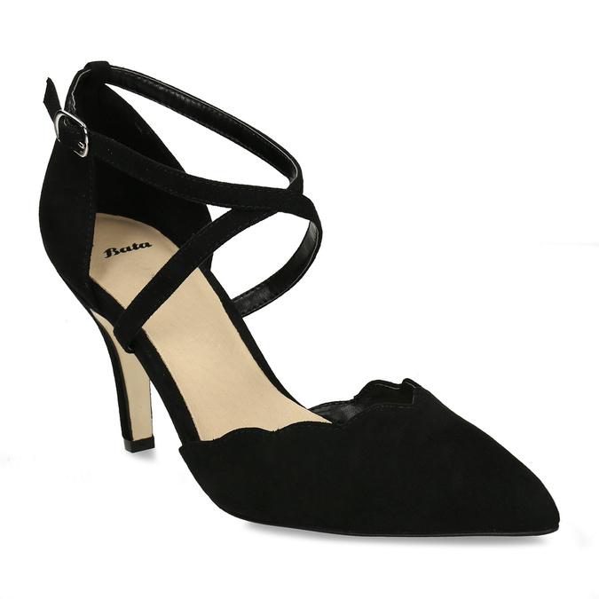 Černé dámské lodičky s koženou stélkou bata, černá, 729-6605 - 13