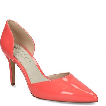 Lososové dámské lodičky s koženou stélkou bata, červená, 721-5603 - 13