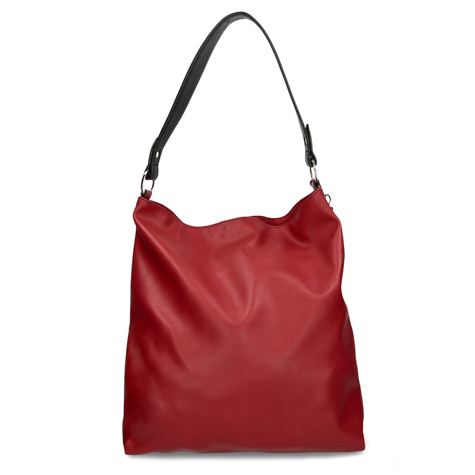 Červená dámská koženková kabelka s černým uchem bata, červená, 961-5670 - 16