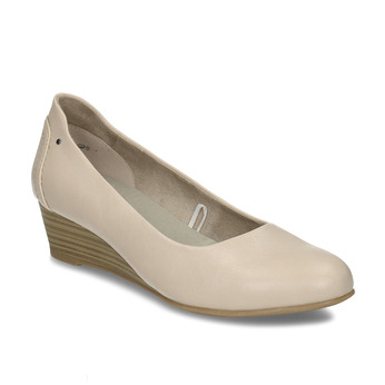 Béžové dámské lodičky na klínku bata, béžová, 621-8600 - 13
