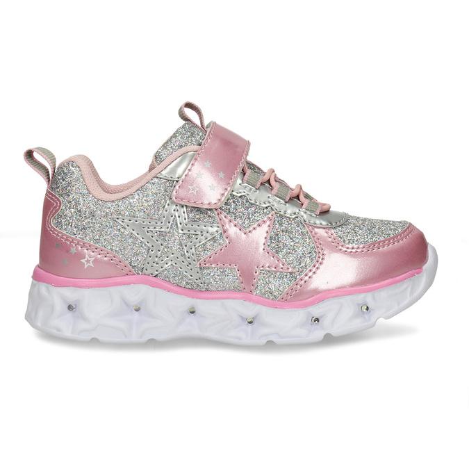 Růžovo-stříbrné dívčí svítící tenisky mini-b, růžová, 221-5601 - 19