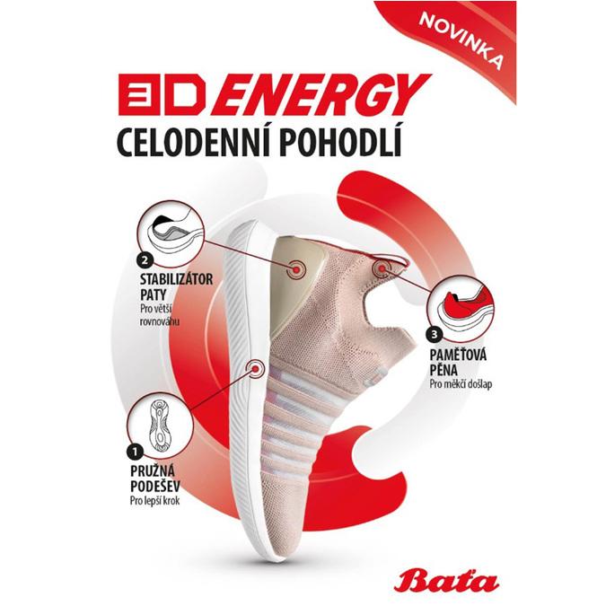 Růžové dámské slip-on tenisky bata-3d-energy, růžová, 539-5602 - 19