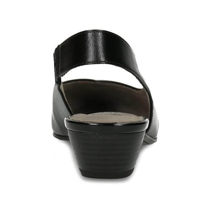 Černé dámské kožené lodičky s otevřenou patou bata, černá, 624-6644 - 15