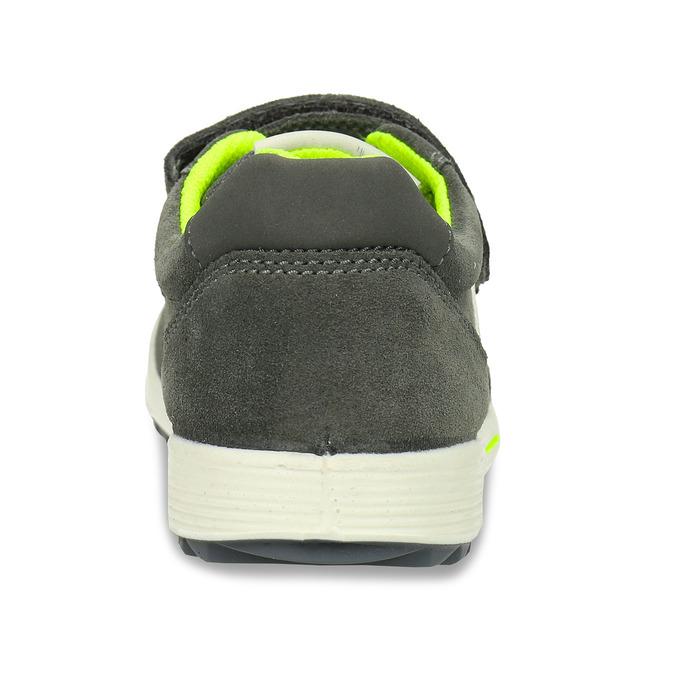 Šedé chlapecké kožené tenisky na suchý zip mini-b, šedá, 216-2607 - 15