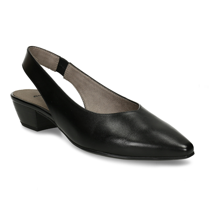 Černé dámské kožené lodičky s otevřenou patou bata, černá, 624-6644 - 13
