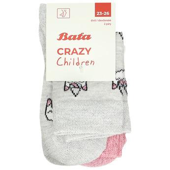 Šedo-růžové dívčí ponožky s jednorožci bata, šedá, 919-2623 - 13