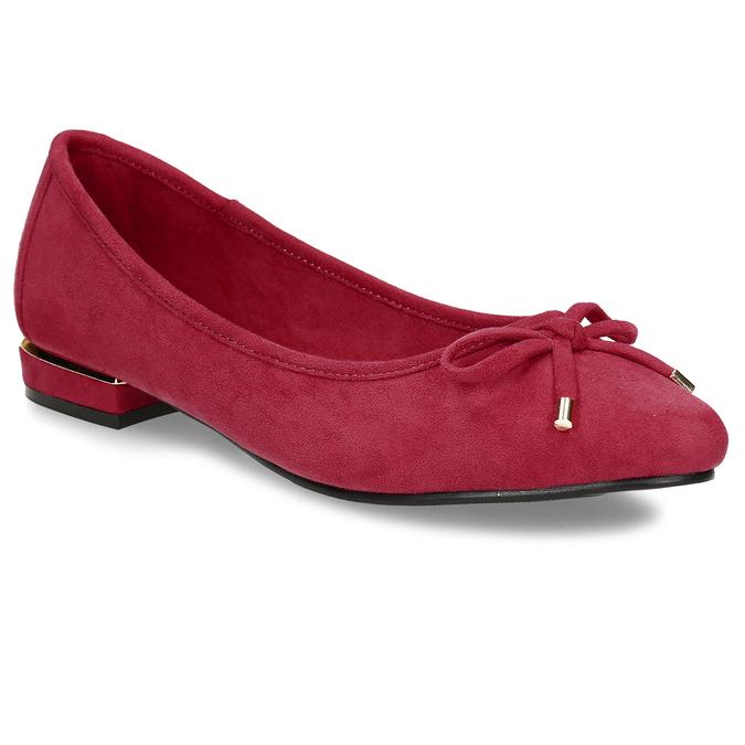 Červené dámské baleríny s mašlí bata, červená, 529-5607 - 13