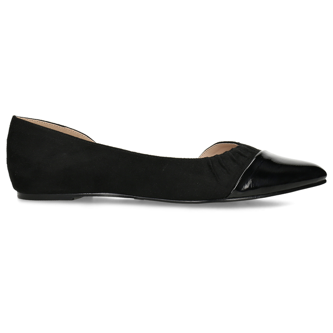 Černé dámské baleríny s asymetrickým střihem bata, černá, 529-6603 - 19