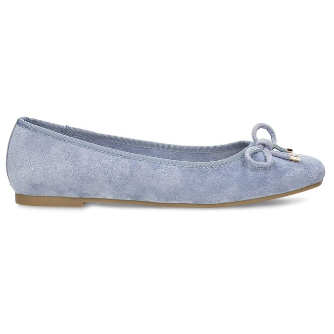 Modré dámské baleríny s mašlí bata, modrá, 529-9606 - 19