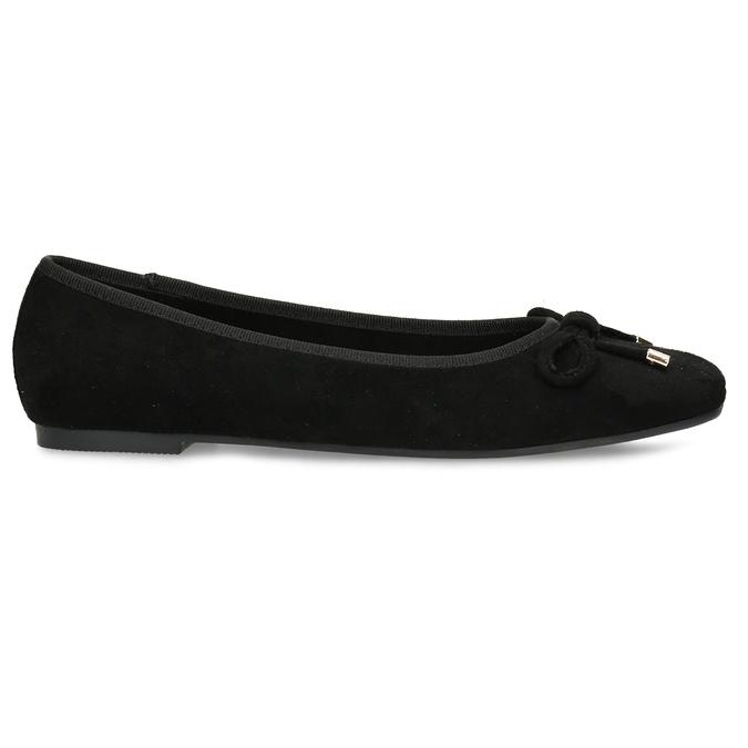 Černé dámské baleríny s mašlí bata, černá, 529-6606 - 19