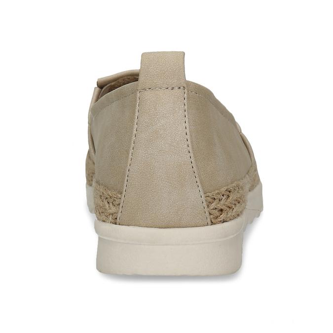 Béžové dámské espadrilky s bílou podešví bata, béžová, 541-8600 - 15