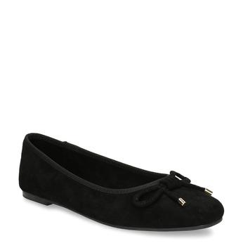 Černé dámské baleríny s mašlí bata, černá, 529-6606 - 13