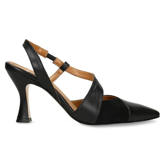 Černé dámské kožené lodičky s otevřenou patou bata, černá, 726-6606 - 19
