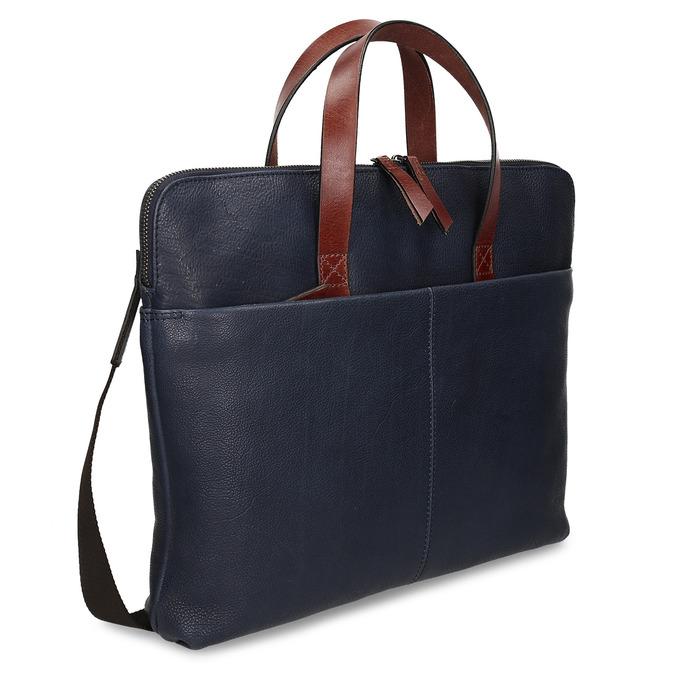 Modrá pánská kožená taška na notebook bata, modrá, 964-9652 - 13