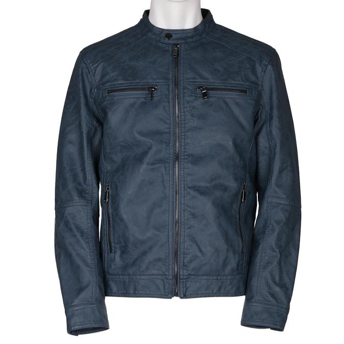Modrá pánská koženková bunda se zapínáním u krku bata, modrá, 971-9288 - 13