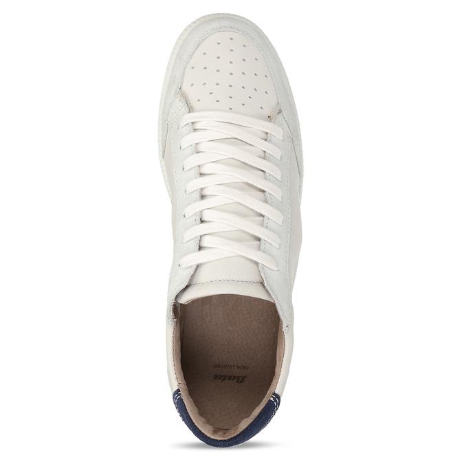 Bílé pánské kožené tenisky s černou patou bata, bílá, 844-1605 - 17