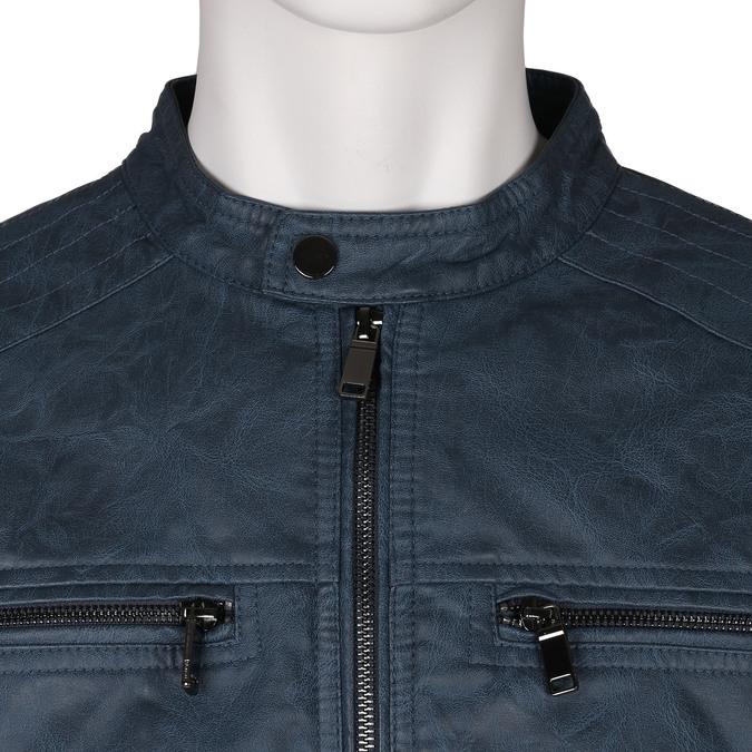 Modrá pánská koženková bunda se zapínáním u krku bata, modrá, 971-9288 - 16