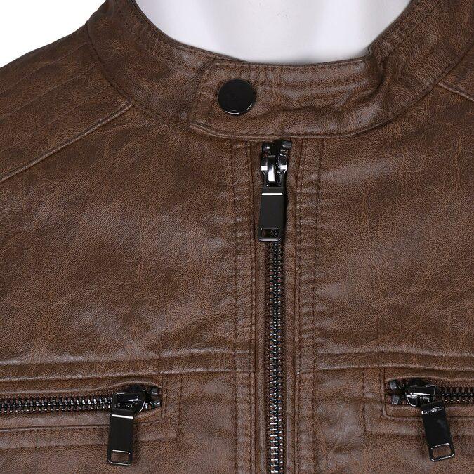 Hnědá pánská koženková bunda se zipem bata, hnědá, 971-3288 - 16