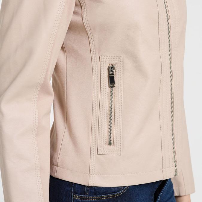 Světle růžová dámská koženková bunda na zip bata, růžová, 971-5281 - 16