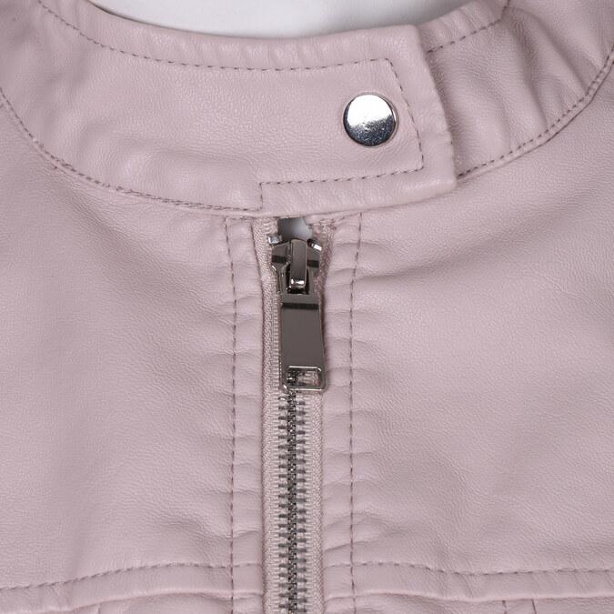 Růžová dámská koženková bunda se zapínáním u krku bata, růžová, 971-5285 - 16