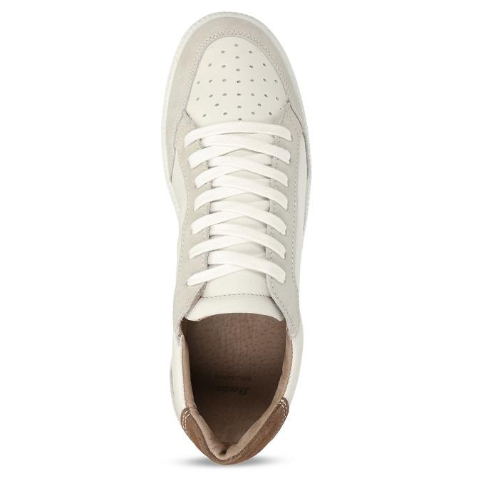 Bílé pánské kožené tenisky s hnědou patou bata, béžová, 844-8605 - 17