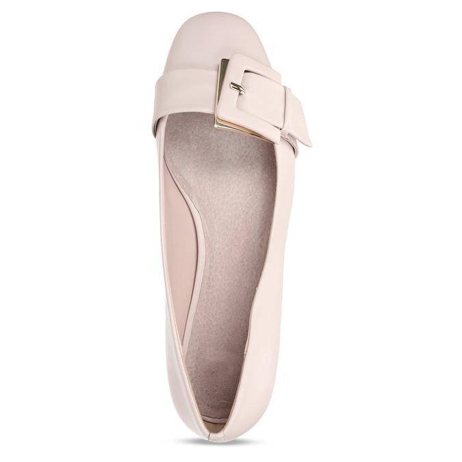 Růžové dámské kožené baleríny se sponou bata, růžová, 524-8641 - 17