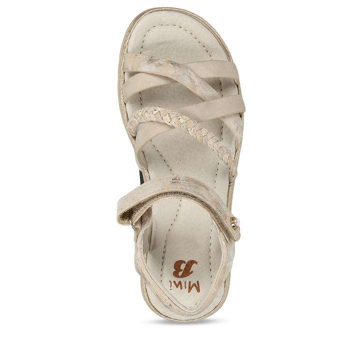 Béžové dívčí páskové sandály mini-b, béžová, 361-8600 - 17