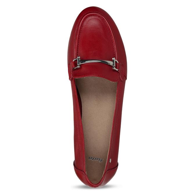 Červené dámské kožené mokasíny bata, červená, 514-5600 - 17