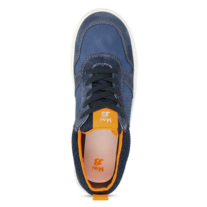 Modré dětské kožené tenisky s oranžovými detaily mini-b, modrá, 416-9605 - 17
