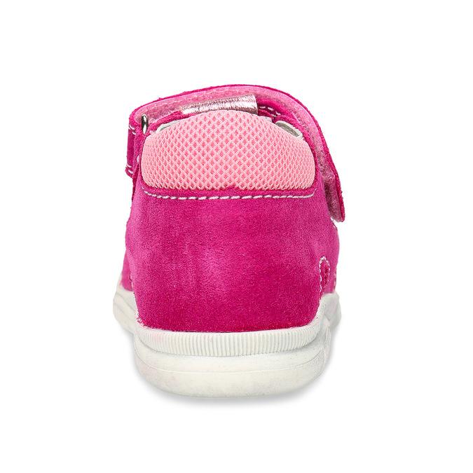 Růžové kožené dětské sandály na suchý zip i přezky richter, růžová, 163-5601 - 15