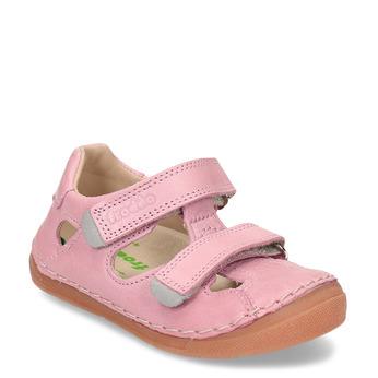 Růžové dětské kožené sandály s uzavřenou špičkou froddo, růžová, 164-5604 - 13