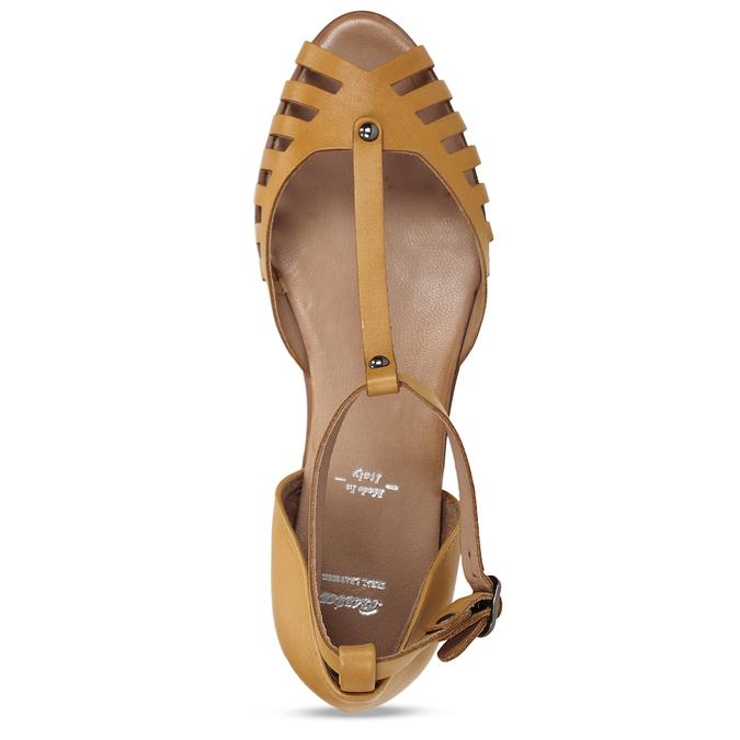 Hořčicové dámské kožené sandály bata, žlutá, 524-8610 - 17