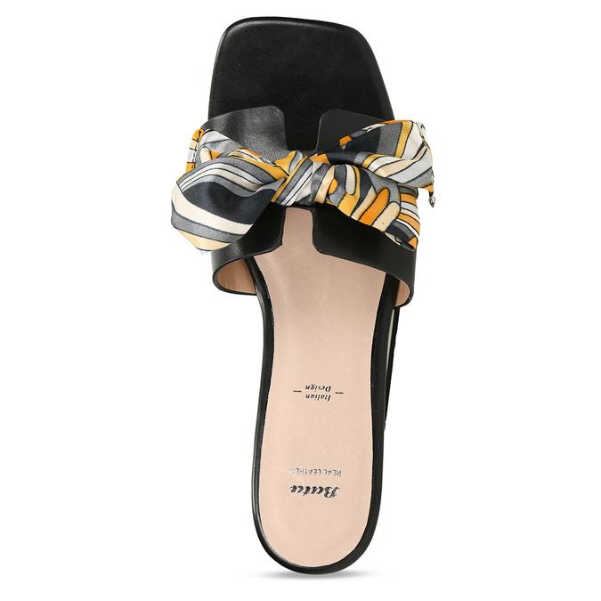 Černé dámské pantofle s barevnou mašlí bata, černá, 559-6600 - 17