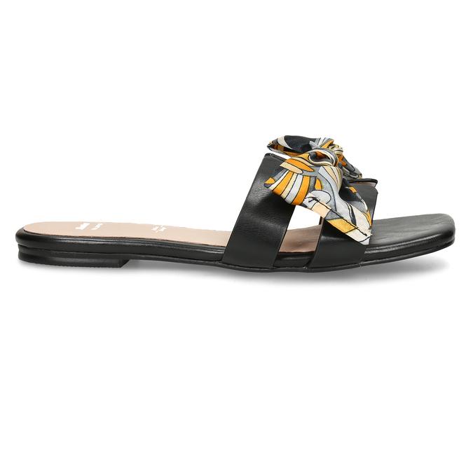 Černé dámské pantofle s barevnou mašlí bata, černá, 559-6600 - 19