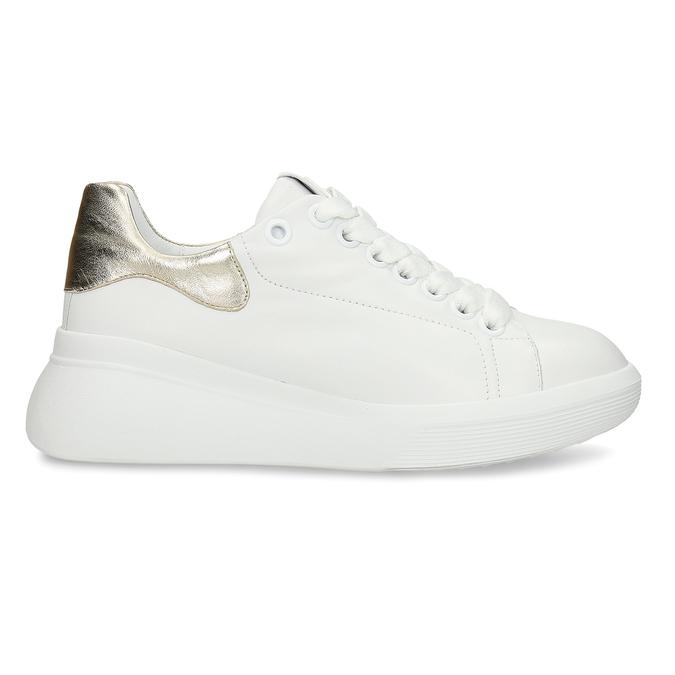 Bílé dámské kožené tenisky na vysoké podešvi hogl, bílá, 544-1610 - 19