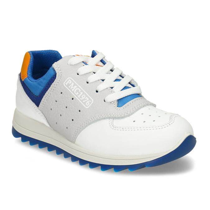 Bílošedé dětské tenisky modrými a oranžovými prvky primigi, bílá, 216-1600 - 13